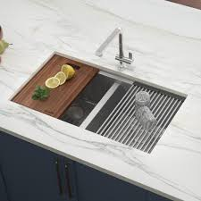 home depot kitchen sink vanity ruvati 33 in workstation ledge 60 40 bowl undermount