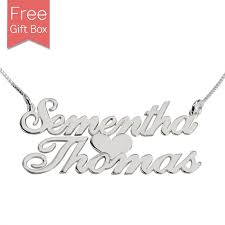 name necklace silver two name necklace with heart in silver