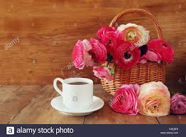 Beautiful Flowers Image Image Of Beautiful Flowers Next To Cup Of Coffee Stock Photo
