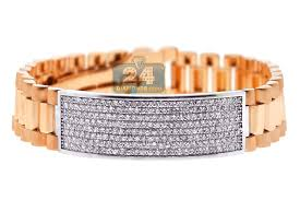rose gold white gold bracelet images 18k rose white gold 4 55 ct diamond mens id bracelet 9 1 2 inches jpg