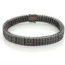 black diamonds bracelet images Mens 3 row black diamond bracelet 0 62ct in sterling silver jpeg