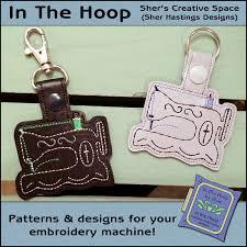 ith antique sewing machine vinyl key fob or bag tag snap tab