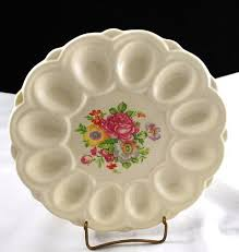 egg plate e r american artware white deviled egg china plate flowers