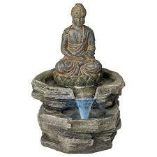 Indoor Garden Decor - water fountain indoor outdoor buddha led lighted serene zen garden