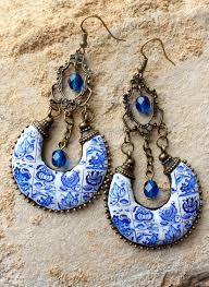 Delft Chandelier Ethnic Bohemian Gypsy Persian Earrings Portugal Antique Azulejo