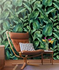 Wallpaper Removable Tropical Leaves Wall Mural Self Adhesive Fabric Wallpaper