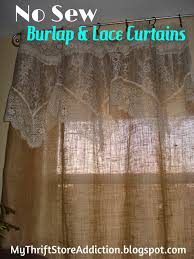 decorating no sew burlap curtains with lace for pretty home