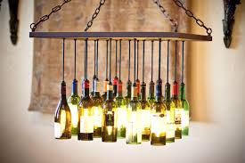 Wine Bottles With Lights Rustic Chandelier With Recycled Wine Bottles Throughout Wine