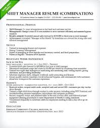 Resume Style Guide Resume Resume Format Samples Fast Food Shift Manager Combination