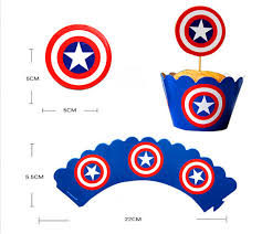 captain america cake topper popular 24pcs cupcake wrappers toppers captain america wrappers