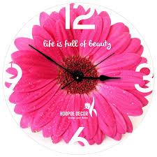 hoopoe decor beautiful pink flower trendy designer wall clock