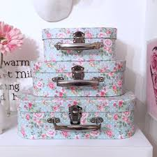 vintage shabby chic green pink floral set of 3 suitcases home