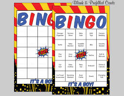100 superhero baby shower bingo cards 100 prefilled bingo