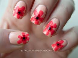 red abstract flowers nail art