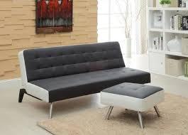 canap clic clac noir clic clac 3 places sittplats en similicuir noir et blanc pouf