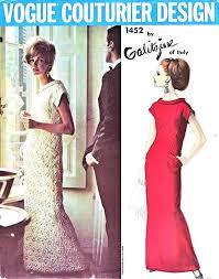 v shaped dress pattern 1960s elegant evening dress pattern vogue couturier design 1452