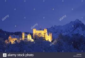 hohenschwangau castle in winter blue hour stock photo royalty