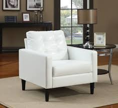 Leather Tufted Sofa by Black Stain Wooden Console Table Features White Leather Sofa Chair