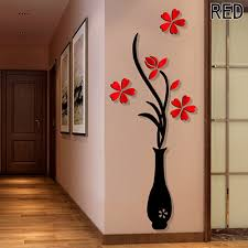 Door Decals For Home by 3d Red Plum Flower Vase Acrylic Diy Art Sticker Wall Stickers