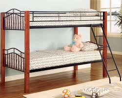 Metal Bunk Beds Twin Over Twin by Black Metal U0026 Warm Medium Wood Modern Twin Over Twin Bunk Bed