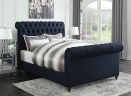 Tufted Headboard And Footboard Gresham Navy Blue Woven Fabric Bed W Scrolled Button Tufted