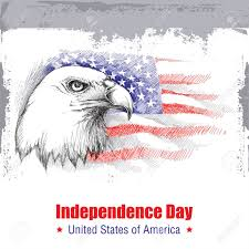 Bald Eagle On Flag Sketch Of Bald Eagle Head On The Background With American Flag