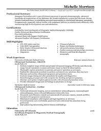 ultrasound resume ultrasound technician resume sles templates franklinfire co