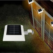solar powered 4 led fence gutter light outdoor yard wall pathway