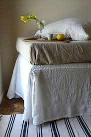 stonewashed linen bed skirt antique white