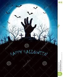 halloween background graveyard blue halloween background with moon and hand on cemetery stock