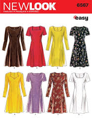 dress pattern fit and flare new look ladies easy sewing pattern 6567 fit flare dresses