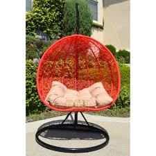 Rattan Swinging Chair 2 Persons Seater Bird Egg Nest Wicker Rattan Swing Lounge Chair
