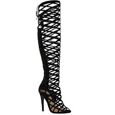 amazon com fashion thirsty womens cut out lace knee high heel