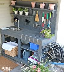 Free Wooden Planter Bench Plans by Make It Diy Potting Bench With Sink Free Pallets Hose Reel And