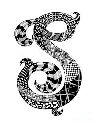 monogram letter s letter s monogram drawing by nan wright