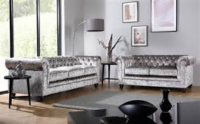 Velvet Sofa Bed Hton Silver Crushed Velvet Chesterfield Sofa 3 Seater Only
