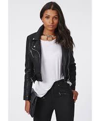 black leather biker jacket missguided faux leather biker jacket black in black lyst