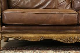 Antique Leather Sofas Sold Bernhardt Country French Leather U0026 Carved Fruitwood Vintage