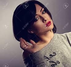 woman with short hair sexy beautiful makeup woman with short hair style red lipstick