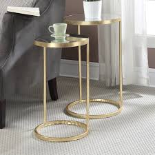 furniture round nesting tables marble top end tables gold and
