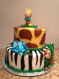 giraffe themed baby shower jungle themed baby shower cake in fondant with a giraffe elephant