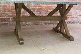 Zinc Table Top Zinc Top Farm Table With X Trestle Base Ecustomfinishes