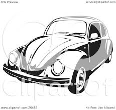 volkswagen bug drawing clipart illustration of a volkswagen beetle car in black and white