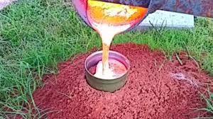 burning molten aluminum fire ant hill casting fireant revenge