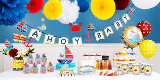 baby shower wall decorations ahoy nautical baby shower decorations party city canada