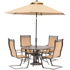patio table chairs umbrella set hanover manor 5 piece aluminum round outdoor dining set with