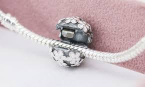 charm bead bangle bracelet images Authentic 925 sterling sliver bead charm glaze blossom clip safety jpg