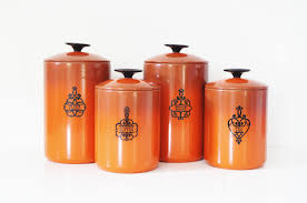 Stoneware Kitchen Canisters Orange Canister Set Home Appliances Decoration