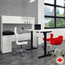 L Shaped Adjustable Height Desk by Bestar Uptown Ii White Height Adjustable Desk L Shape With Digital