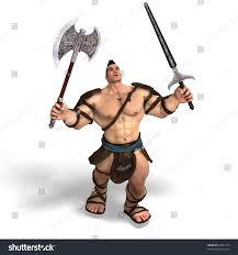 barbarian assault guide muscular barbarian fight sword axe clipping stock illustration